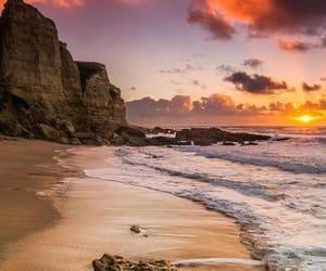 beach, nature, and sunset image