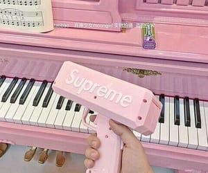 pink, supreme, and piano image