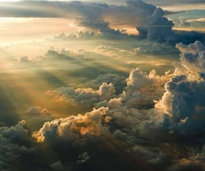 clouds, sky, and sun image