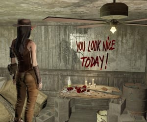 creepy, fallout, and writings on the wall image