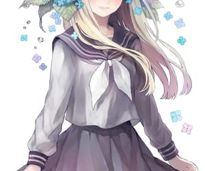 anime, flower crown, and school girl image