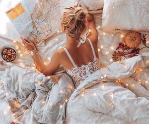 girl, beauty, and lights image