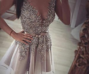 homecoming dresses, v-neck prom dress, and grey prom dress image