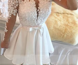 white homecoming dress, prom dresses, and short homecoming dress image