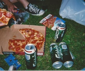 pizza, grunge, and beer image