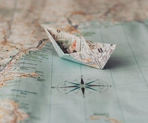map, travel, and waves image