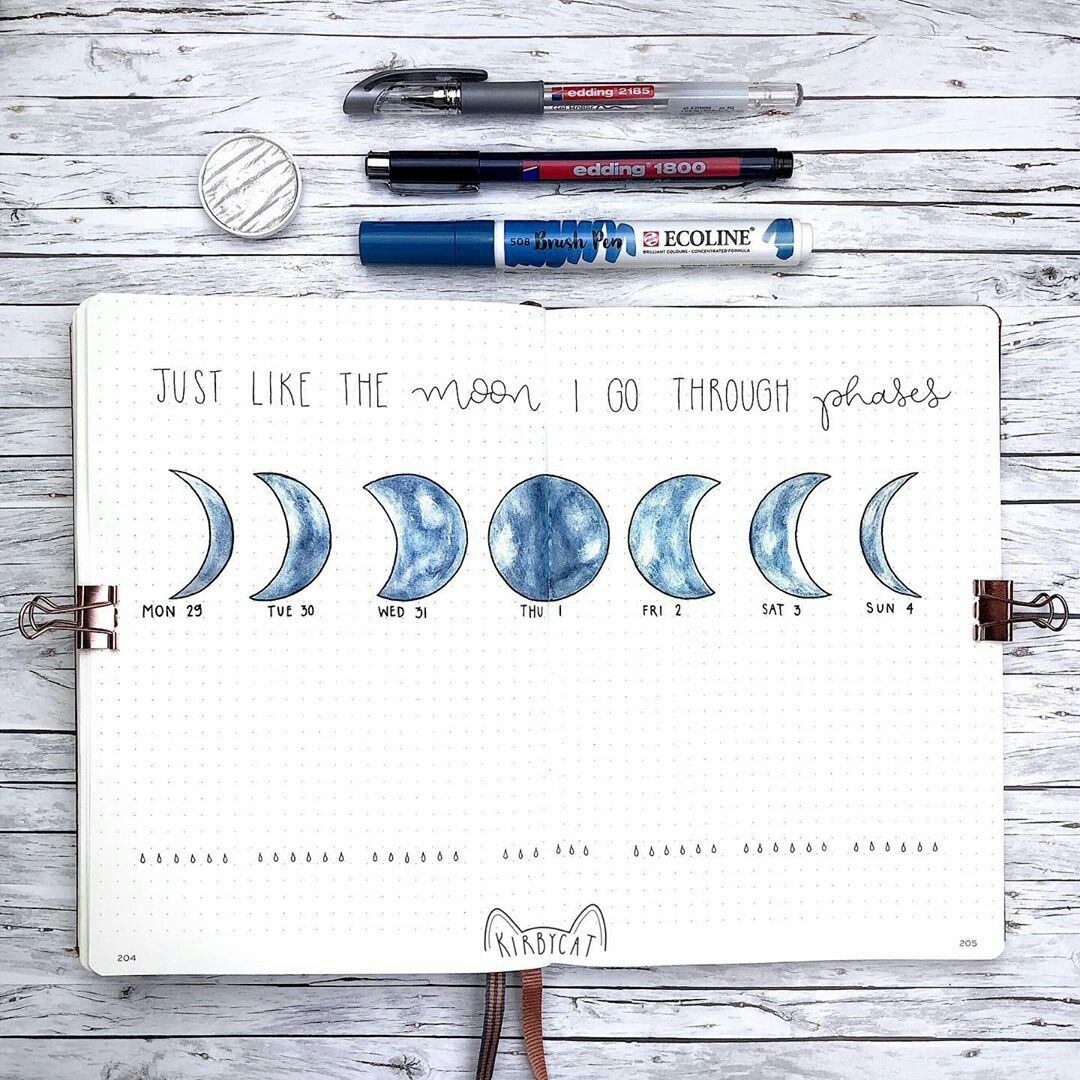 art, moon phases, and studygram image