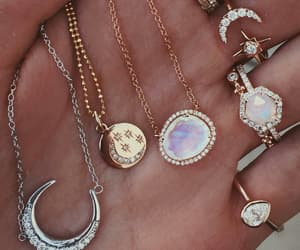crescent moon, diamonds, and gold image