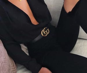 black, gucci, and outfit image