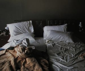 bed, room, and vintage image