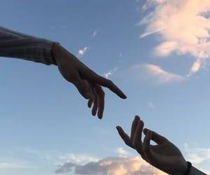 sky, aesthetic, and hands image