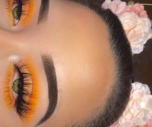 makeup, eyes, and yellow image