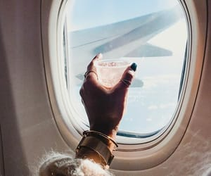 airplane, travel, and champagne image