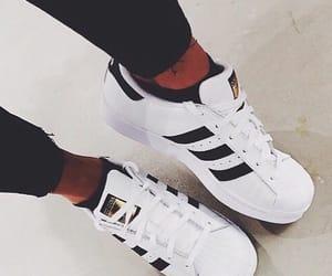 adidas, black white, and superstar image