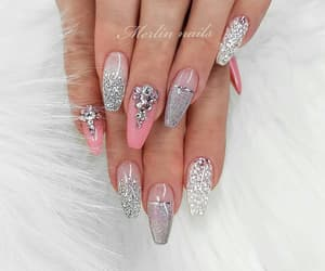 glitter, nails, and grey image