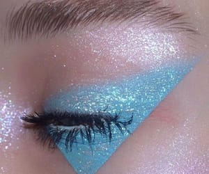 makeup, blue, and glitter image