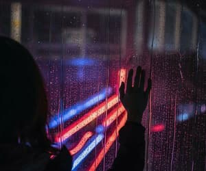 rain, light, and neon image
