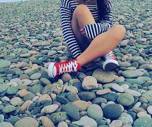 girl, converse, and red image