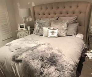 bedroom, grey, and bed image