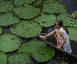 girl, boat, and green image