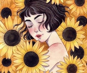 sunflower and girl image