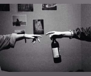 black and white, wine, and love image