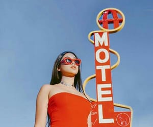 girl, red, and motel image