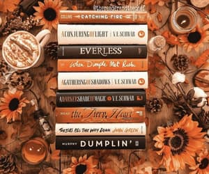 books, autumn, and coffee image