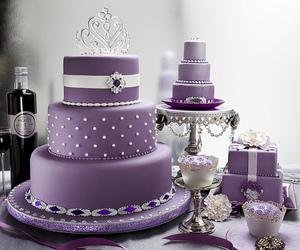 cake, purple, and wedding image