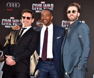 chris evans, captain america, and robert downey jr image