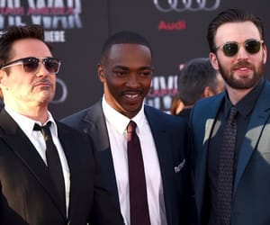 anthony mackie, chris evans, and robert downey jr image