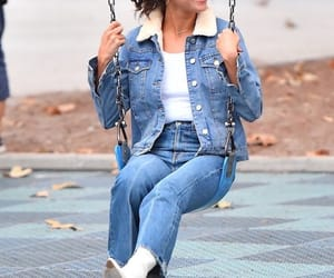 candid, jacket, and jeans image