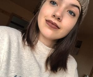 beanie, lipstick, and me image
