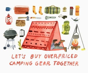 camping, drawing, and gear image
