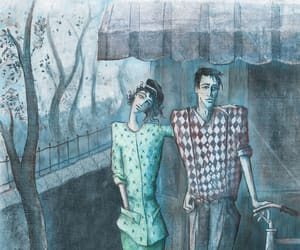 art, couple, and melancholy image
