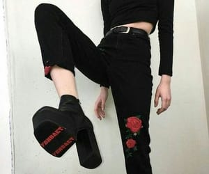 black, rose, and grunge image