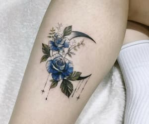 aesthetic, moon, and floral tattoo image