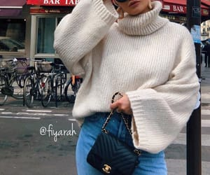 fashion style, sunglasses glasses, and pullover white image