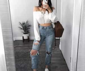 jeans, outfit, and moda image