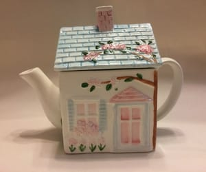house, pink, and teapot image