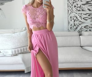pink, prom dress, and dress image