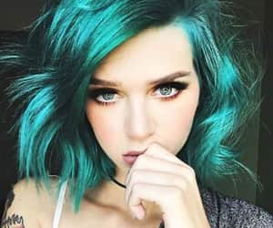 fashion hair, tattoo girls, and green color image