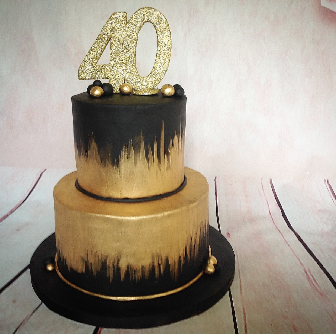 Admirable Gold And Black 40Th Birthday Cake On We Heart It Funny Birthday Cards Online Inifofree Goldxyz