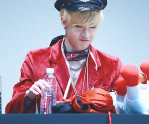 blonde hair, contacts, and bangchan image