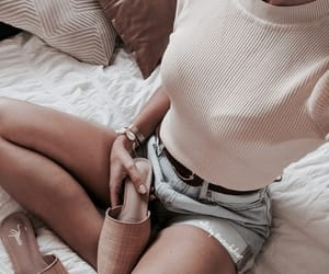 girl fashion style, girly inspiration, and white denim clothes image