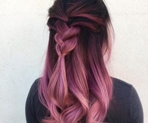 pink, braid, and pastel pink image