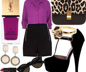 black, blouse, and leopard image