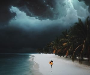 beach, nature, and storm image
