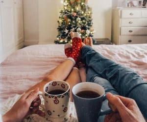 christmas, couple, and coffee image