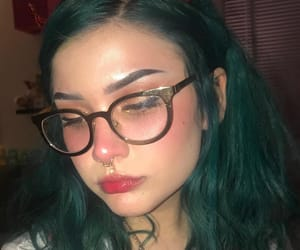 eyebrows, green hair, and girl image